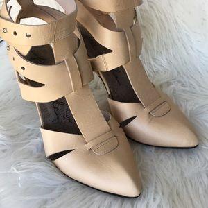 🌱FREE People Strappy Cream Leather Heels EUC🌱